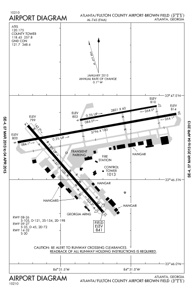 Airport Diagrams Fulton County Airport Atlanta Georgia United